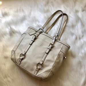 coach shoulder bag tote cream silver hardware